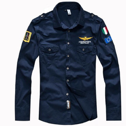 Wholesale Air Force High Black - 2017 New Autumn Winter Men 's Long Sleeved Shirt Embroidery Patterns Air Force Perfect MA1 Man Shirt Cotton High quality Tops S-4XL