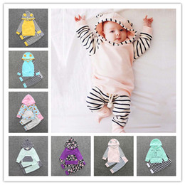 Wholesale Boys Hoodies Stripes - 2017 Kids Clothing Set Stripe Print Baby Clothes Boys Girls Hoodie Pants Boutique Children Fashion Spring Autumn Infant Toddler Outfits