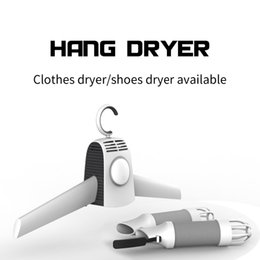 Wholesale Dryer For Shoes - Hot Smart 110V 220V 2 in 1 Portable Dry Hanger for Clothes Shoes Traveling Fast Drying Cloth Suit Hanger Dryer Cold Hot Wind Switch