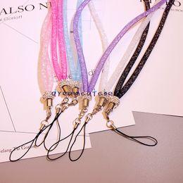 Wholesale Necklace String Neck Chain - Luxury Bling Crystal Rhinestone Lanyard Diamond Hanging Rope Necklace String Neck Chain Sling Colorful for iphone ID Card Keychain Universal
