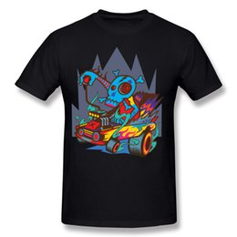 Wholesale Cool Cheap Tees - Skull Racing Printed Tee Teenage Trendy Men T Shirts Printed Homme Round Collar Funny Geek T Shirts Cheap Round Collar Cool T Shirts