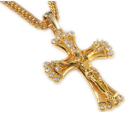 Wholesale Cheap Jesus Necklace - Wholesale-90cm hip hop rapper cool JESUS Christ Cross pendents long necklace men gold chain 18k plated male Christian jewelry cheap N141