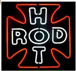 Enseignes au néon rouge en Ligne-Fashion New Handcraft HOT ROD CROSS ROUGE CLASSIQUE Tubes en verre véritable Bar à bières Affiche au néon 19x15 !!! Meilleure offre!