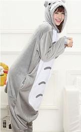 Wholesale Totoro Halloween Costume - Totoro Kigurumi Pajamas Animal Suits Cosplay Outfit Halloween Costume Adult Garment Cartoon Jumpsuits Unisex Animal Sleepwear