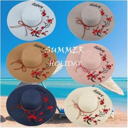 Wholesale Ladies Flat Cap Wholesalers - Fashion wide Brim summer beach sun hats for women Letter Happy Embroidery straw Hats caps ladies big sunscreen foldable hat holiday 2017 new