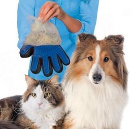 Wholesale Dog Brush Removal - True Touch Deshedding Glove True Touch Cleaning Massage Removal Dedeshing Bath Dog Brush Comb Pet Hair Cleaning Glove Tools KKA1510