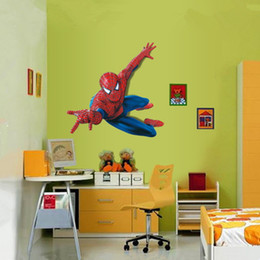 Wholesale Wall Stick Decor - Wall Sticker Spiderman Kids Boy Children Photo Wallpaper Home Decoration Art Room Decor Bedroom Hallway Mural PVC Decorative Girl