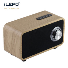 Wholesale wooden pc speakers - iLEPO i9 Wooden Bluetooth Speaker Super Bass Subwoofer Wireless Mini Speakers Stereo Music Box TF MP3 For PC Smart Phone VS Charge 3 Xtreme