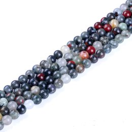 Wholesale African Movies - Top Quality African Bloodstone Beads Round Natural Stone Beads 4 6 8 10 12 14MM for Jewelry Making Bracelet DIY Loose Bead