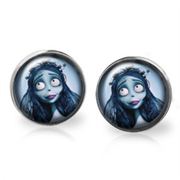 Wholesale bride glasses - 10pairs lot The Corpse Bride inspired earrings Posts Glass photo earrings stud post