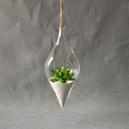 Wholesale Indoor Plant Decor - Hanging Glass Vase Hanging Terrarium Hydroponic Plant Flower Clear Container Indoor Hanging Vase Home Decor