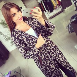 Wholesale Leopard Coats For Women - Wholesale- Fashion cardigans for women's long sleeve V neck sexy leopard printed casual loose longer knitted cardigan sweater coat female