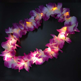 Wholesale Mardi Gras Necklaces - 2017 Glowing LED Light Up Hawaii Luau Party Flower Lei Fancy Dress Necklace Hula Garland Wreath Wedding Decor Party Supplies 10-LEDs