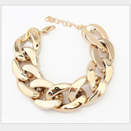 Wholesale Curb Link Charm Bracelets - Wholesale-Women Punk Simple Charm GOLDEN Shiny Alloy Chin Chunky Curb Chain Bracelet Stack