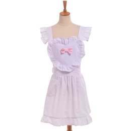 Wholesale Apron Patterns - Lolita Girls Heart Pattern Maid Dress Sweet Niffy Ruffled Apron Cospaly Costume Fast Shipment High Quality