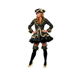 Wholesale Outfit Dress Sets For Women - Sexy Pirate wench lady Halloween cosplay costume set for adults women Nightclub wear party dress outfit with hat patch