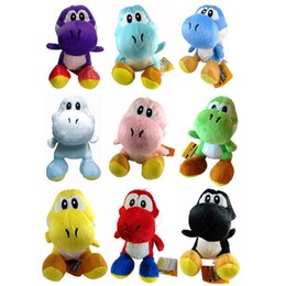 "Wholesale Super Mario Yoshi - Super mario push toys 6"" 15cm Yoshi plush dolls Red Blue Green Pink Black Coffee 9 colors"