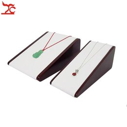 Wholesale Leather Wood Necklace Display - Fine Jewelry Display Holder Horizontal Vertical DoubleUsed Red Wooden Pearl Chains Pendnat Stand White Pu Necklace Storage Stand