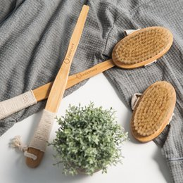 Wholesale Wooden Handled Bath Brush - Aimjerry Bathroom Natural Bristle Cleaning Removable Long Handle Wooden Maasage Health Care Bath Body Brush For Bath