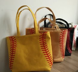 Wholesale Diamond Hard - 4 colors in stock small baseballl cycling Lady Canvas Bag Shoulder baseball Women's Handbag Cute Canva Tote Bag basketball bag