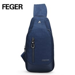 Wholesale trendy cross body bags - Wholesale- FEGER Casual Durable Soft Nylon Mens Messenger Bags Small Travel Sling Bag Trendy Solid Unisex Couple Chest Pack Free Shipping