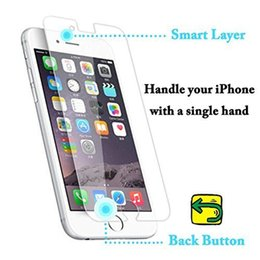 Wholesale Iphone Screen Button - Smart Return Magic Touch Tempered Glass Screen Protector Invisible Buttons for iPhone 6 Plus with Package free DHL