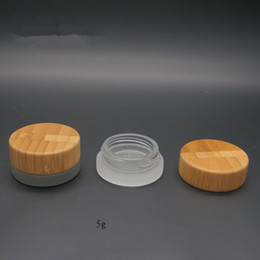 Wholesale Cream Jars Wholesale - Wholesale- Free shipping 5g solid cream jars with bamboo lids,5ml solid cosmetic jars with bamboo cover caps