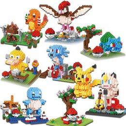 Wholesale Xmas Presents - 8 types BOB Mini Blocks monster Plastic Blocks Charmander Bricks Pikachu Auction Model Toys Bulbasaur Kids toys Xmas Present 9549-9556