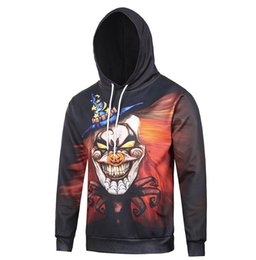 Wholesale Evil Clowns - Free shipping 3D Halloween evil clown clothing high quality Street style coat hop sweatshirts hoodies winter Men Casual moleton masculino