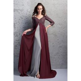 Wholesale Spagetti Evening Dress - 2017 New Elegant Evening Dress A-Line Spagetti Straps 3 4 Long Sleeve Lace Beading Split Side Sweep Train Real Photos Prom Dresses