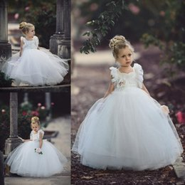 Wholesale handmade communion dresses - Cute White Ball Gown Flower Girl Dresses 2017 Handmade Flower Square Neckline Baby Birthday Party Gowns Children Formal Party Dress