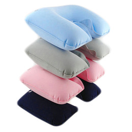Wholesale Hot Water Pillow - Wholesale- HOT Inflatable Soft Car Head Neck Rest Compact Air Cushion U Pillow Flight Travel 91RT