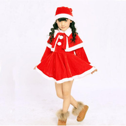 Wholesale Baby Dress Hat Set - Baby Girls Christmas Santa Claus Fancy Dress with Shawl Hat Outfit Set Girls Dress sets Kids Christmas sets JM11 001