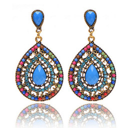 Wholesale Brown Crystal Earrings - 2017 Fashion Bohemain Jewelry Swarovski Crystals Chandelier Earrings For Women Cheap Free Shipping Blue Black Green Brown Beige Colored