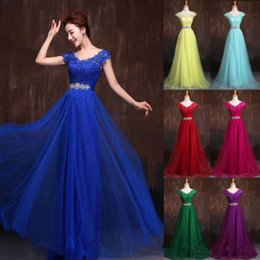 Wholesale Elegant Ballgown Dress - Bridesmaids Dresses Elegant Appliqued Lace Embroidered EveningWear BallGown Backless Sleeveless V-neck Sexy Formal Prom Cocktail Party Dress