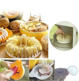 Wholesale Potato Slicing - Microwave Potato Chips Maker Baking Tray Slicer Set for Home Kitchen DIY Tools Microwave Oven Baking Tool Potato Slices Kitchen Tool KKA1958