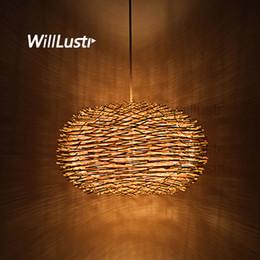 Luz de alpendre pingente on-line-Willlustr vime pendente lâmpada artesanal pássaro ninho luz de suspensão restaurante do hotel mall bar lounge varanda varanda lustre de iluminação de vime