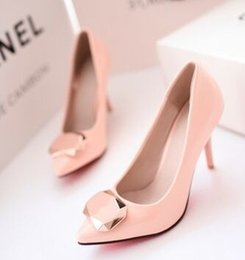 Wholesale Patent Professional - Wholesale New Arrival Hot Sale Specials Sweet Girl Sexy Wild Noble Patent Leather Gem Pointed Professional Knight Party Heels Shoes EU34-43