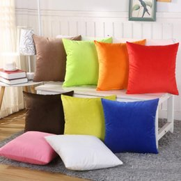 Wholesale Sofa Backrest - Couch Pillows Decorative Pillow Covers Fleece Candy Color Pillowcase Backrest Flannel Cushion Cases For Living Room Sofa Decoration