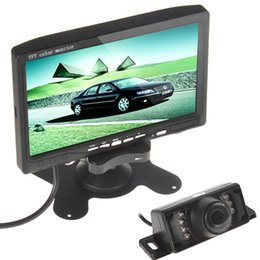 Wholesale Led Color Ir - HOT! 7 Inch TFT LCD color Display Screen Car Rear View Monitor DVD VCR + 7 IR LED Lights Night Vision monitor CMO_344