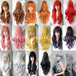 Wholesale Miku Hatsune Wig Curly - no lace Daily wigs Cosplay Hair Peruca Pelucas Hatsune miku wig Long Curly Wave synthetic party Pink Red lolita wigs 80cm Peluca Cosplay Wig