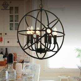 Wholesale Painting Interior Room - Pendant Lights Retro Industrial Iron Painted Loft AC E14 Suspension Hanging Lamp For Living Room Restaurant Interior Lighting