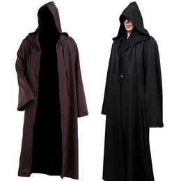 Wholesale Black Hooded Cloak Cape - Hooded cloak cape Halloween Costume Coat Star Wars Jedi Cosplay Robe Apparel Hot