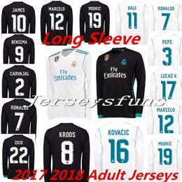Wholesale Man Long Sleeve Shorts - 2017 2018 Real Madrid men long sleeve soccer Jerseys RONALDO White Blue SERGIO RAMOS JAMES BALE RAMOS ISCO MODRIC Benzema football shirts