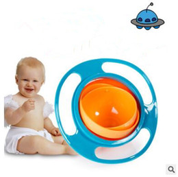 Wholesale Baby Spill Rotating Bowl - Baby Bowl 360 Rotate Universal Gyro Spill-Proof Bowl New Baby UFO Top Bowl Dishes High Quality Children Feeding Toys Dishes Funny Gift J441