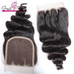 2019 sehr indisches haar Unverarbeitetes indisches Menschenhaar Remy Loose Wave Lace Closure 3-Wege-Teil 4 * 4 Haarteile natürliche Farbe färbbar für schwarze Frauen Sehr beliebt rabatt sehr indisches haar