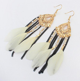 Wholesale Long Red Feather Earrings - 5 Colors Indian Jewelry Boho Earrings Colorful Glass Beads Long Feather Chain Tassel Dangle Chandelier Earrings