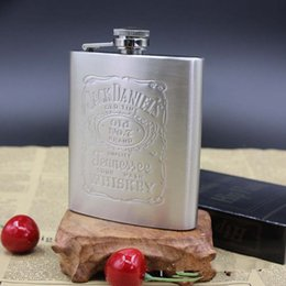 bottle whiskey flask Promo Codes - Wholesale- Portable Stainless Steel Hip Flask 7oz Embossed Flagon Flasks Russian Wine Beer Whiskey Bottle Alcohol Drinkware PL088