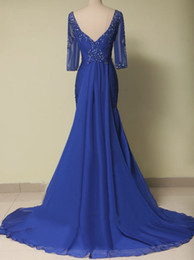 Wholesale Dresse For Women - Plus Size Mother of the Bride Dresse Long Royal Blue Chiffon Half Sleeves Elegant Dress for Women Evening Party Gowns Custom Made