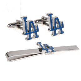 Wholesale Men Shirts Ties - Los Angeles Dodgers Gift Set Cufflinks Tie Bar and Money Clip For Men Shirt and tie accessories